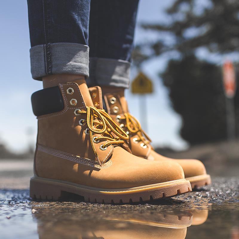 大黄靴男春季高帮马丁靴英伦风工装鞋子中帮沙漠皮靴踢不烂10061