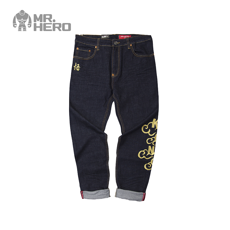 Kxtoys original design mrhero mens fashion brand straight tube slim casual washed pants jeans