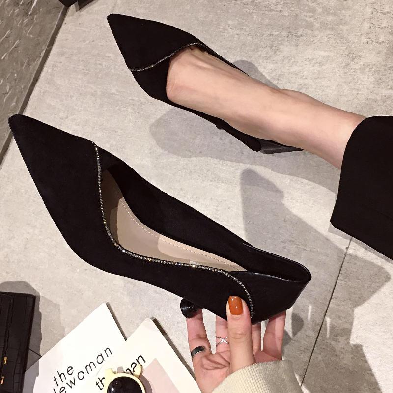 尖头高跟鞋2019秋冬新款百搭少女黑色细跟中职业工作单鞋猫跟5cm