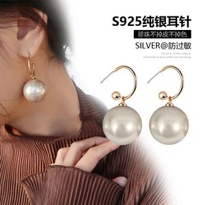 简约大珍珠吊坠耳环超大夸张韩国气质百搭925银针复古秋冬耳坠女