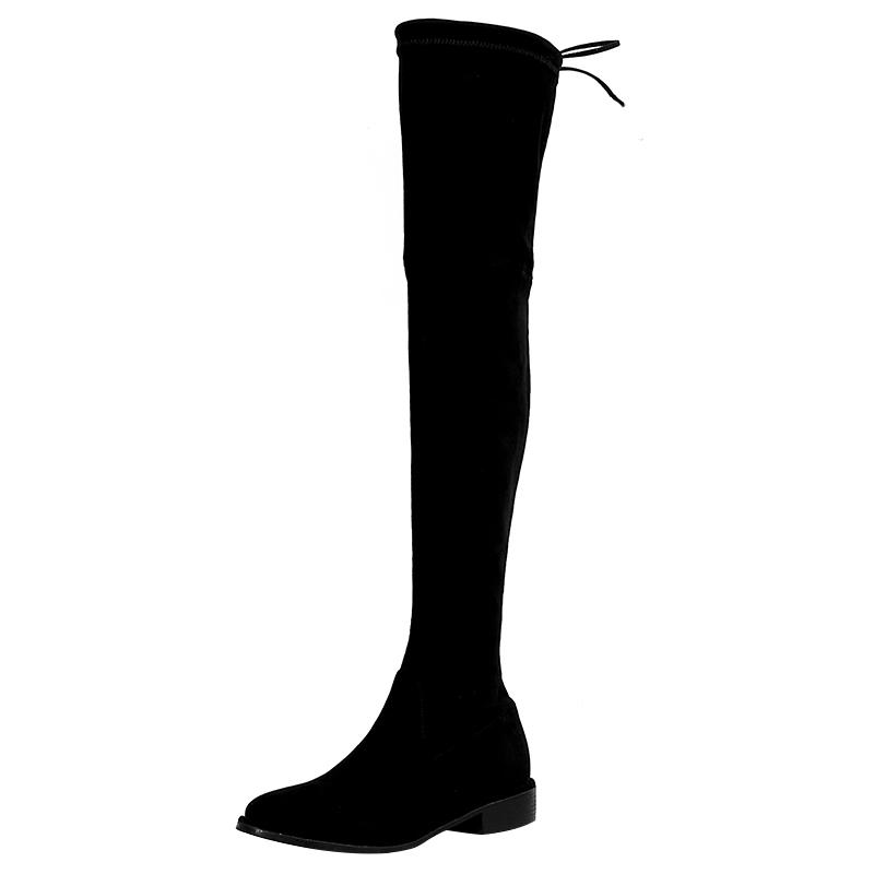 大叔家2018秋冬季新款圆头长筒靴低跟显瘦过膝靴弹力靴平底长靴女