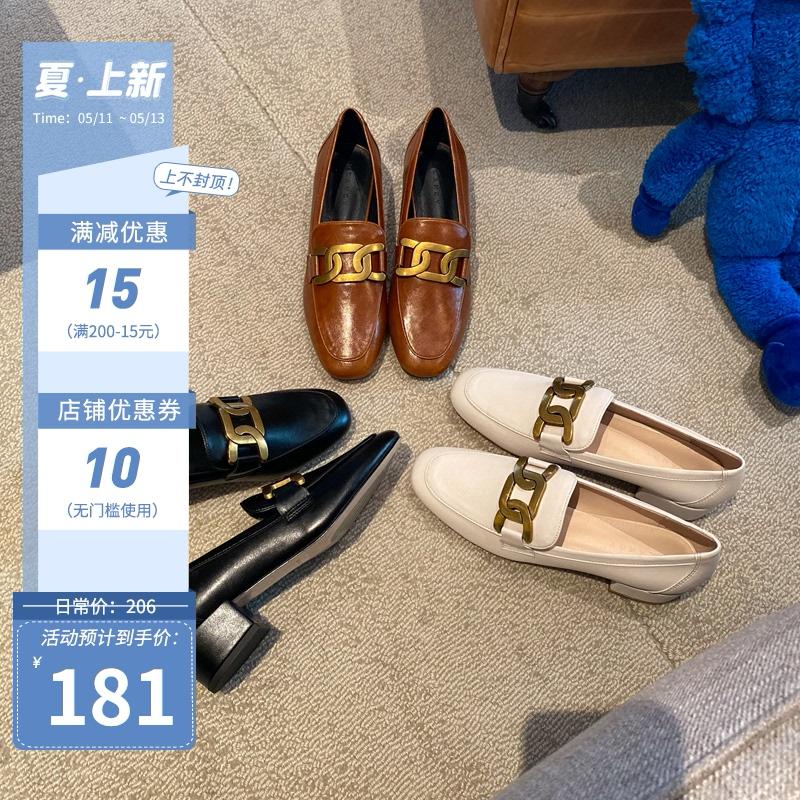 大叔家2021春季新款中跟单鞋女英伦风一脚蹬粗跟小皮鞋复古乐福鞋