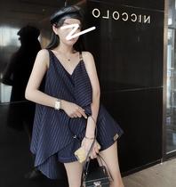 夏月独家自制 不规则吊带背心条纹短裤两件套女夏时尚小香风套装