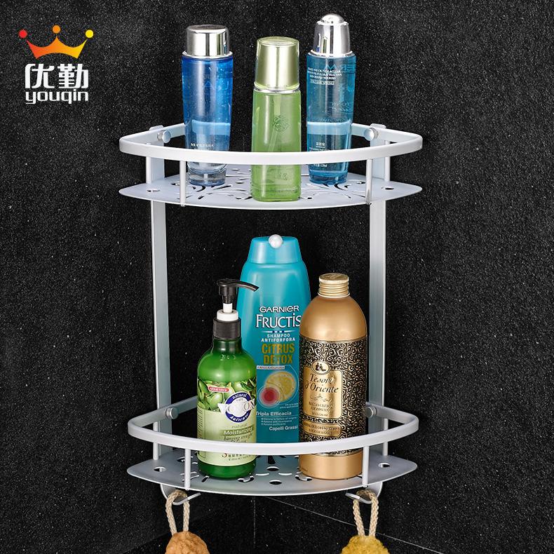 優勤衛浴 太空鋁浴室置物架洗澡間淋浴房2層衛生間三角架雙層5701