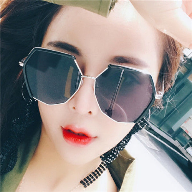 Polygonal sunglasses, womens Korean version, fashionable retro original sunglasses, fashion net, red glasses, round face, UV proof