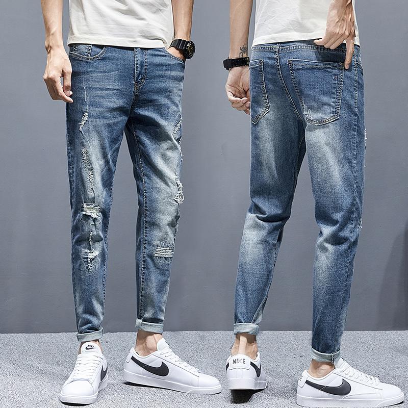 夏季新款弹力九分破洞牛仔裤小脚修身韩版潮青春流行K1802-P50