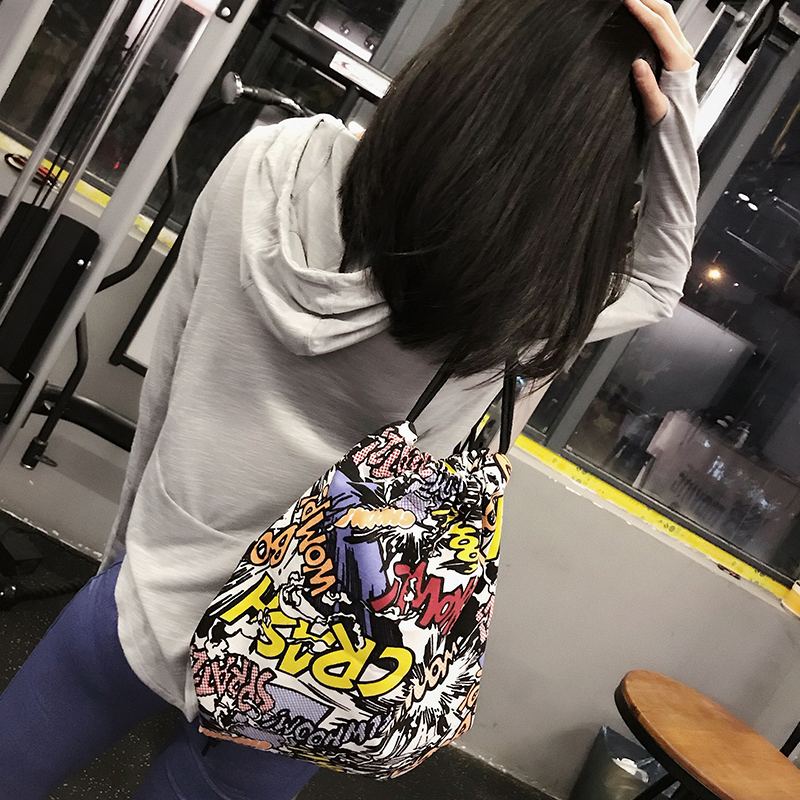 Корейский свежий небольшой рюкзак случайный шнурок узкая гавань мешок студент портфель мода движение на открытом воздухе веревка ткань мешок волна