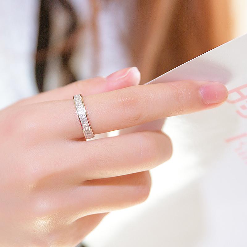 顺庆磨砂戒指S925纯银饰品戒子男情侣款学生韩版送女友情人节礼物