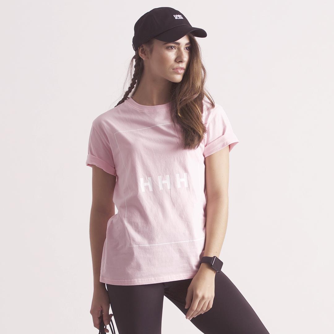 KON-HASH字母HHH印花女款运动休闲粉色纯棉圆领套头短袖T恤夏
