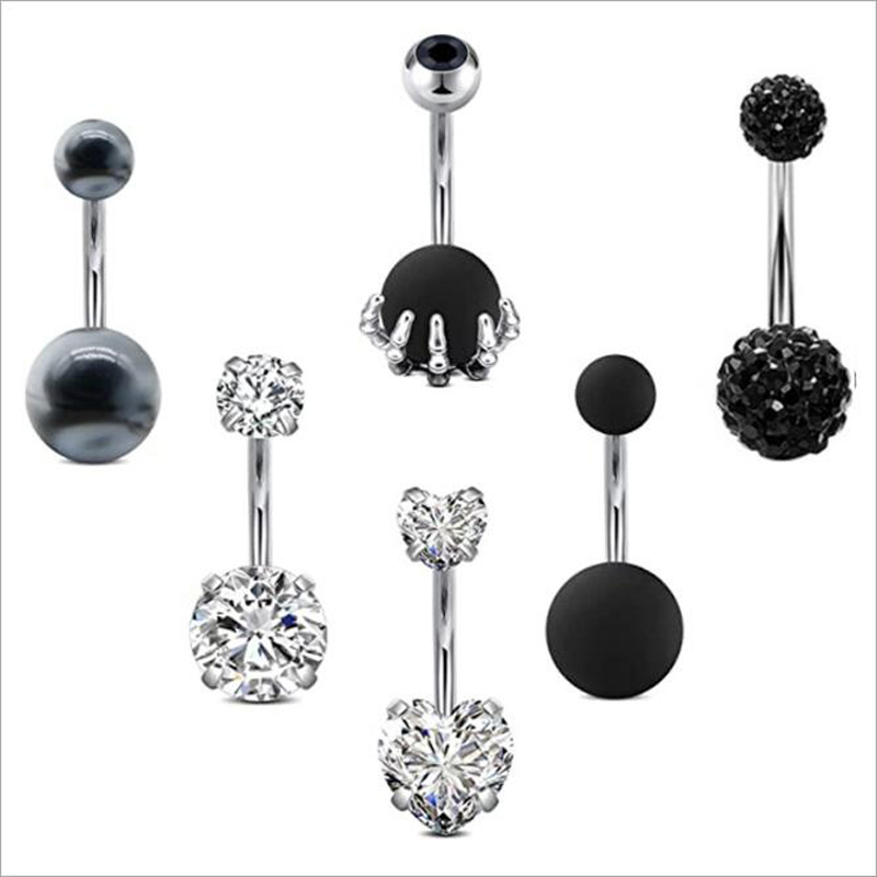 Navel ring perforation operation Steel Black peach heart center claw shaped navel jewelry womens suit combination
