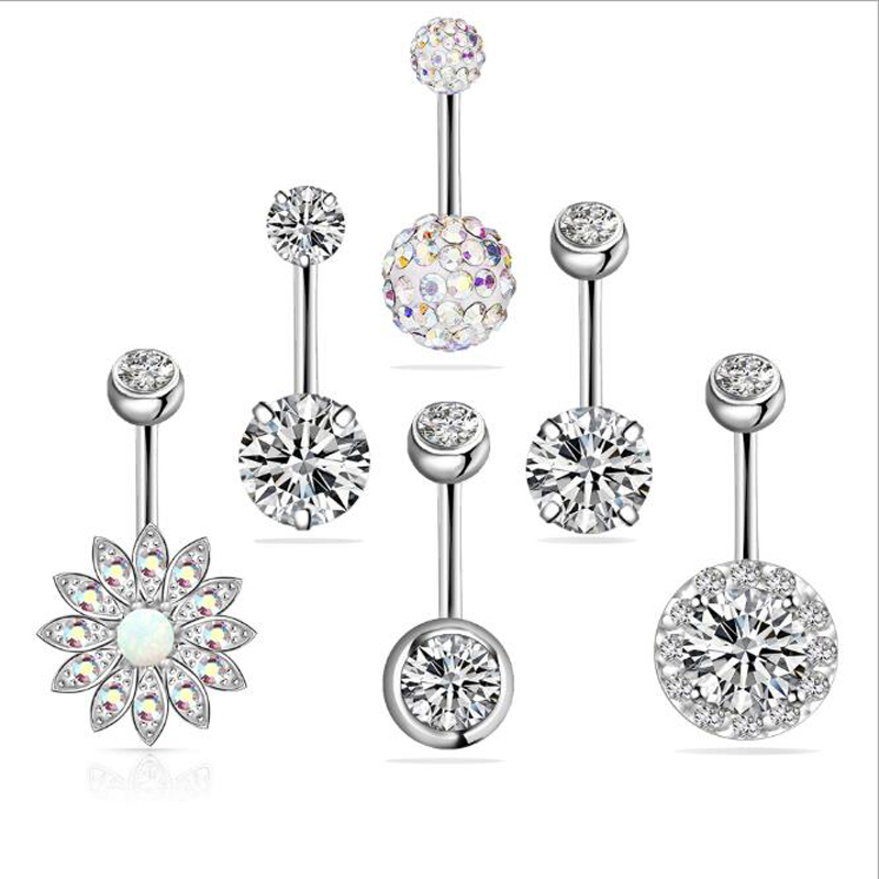 Sunflower opal Navel Ring Set zircon navel nail clay diamond navel perforation jewelry 6 pieces