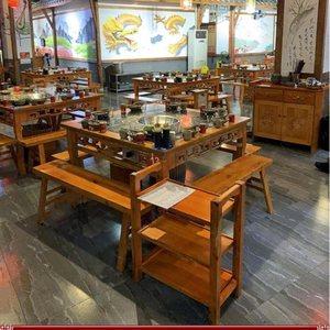 小桌餐饮店火锅桌子电磁炉一体圆桌家用用电椅子餐台椅火锅店凳子