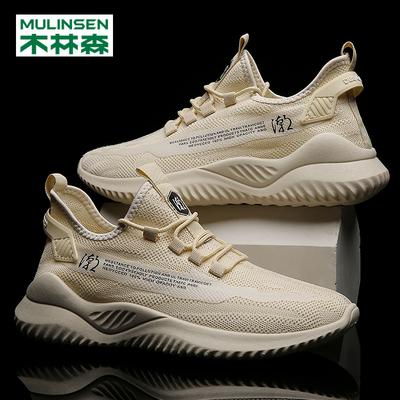 木林森夏季透气飞织韩版运动男鞋