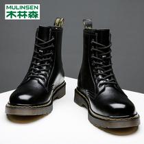 冬季新款加绒英伦风低帮男靴子百搭休闲潮鞋工装短靴2020马丁靴男