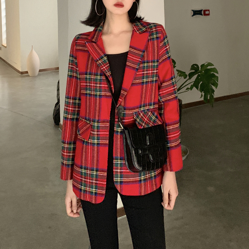 Red Plaid Blazer for women in spring and autumn 2020