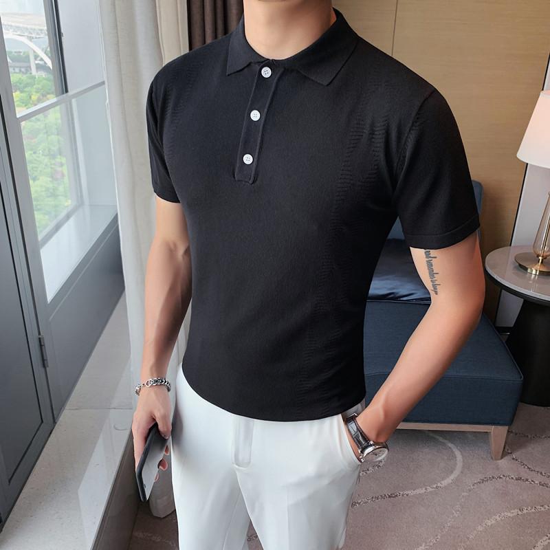 PT10-P48夏季型男纯色短袖 英伦修身翻领潮流休闲POLO衫77