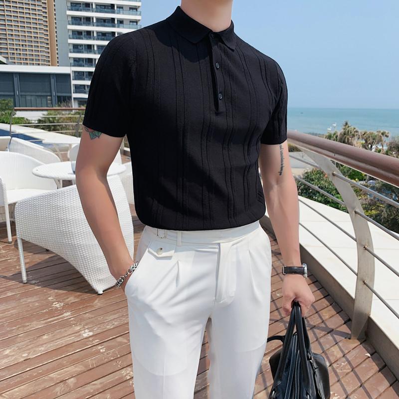 MY23-P65夏季型男纯色冰丝短袖 英伦修身翻领休闲针织粗线POLO衫1