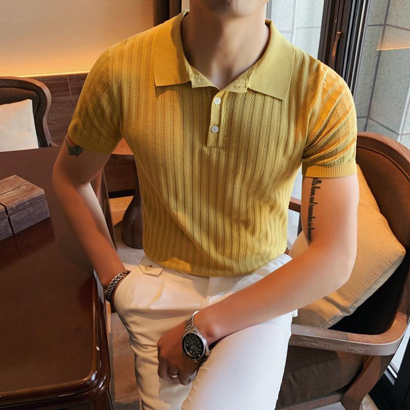 MY15-P65夏季型男冰丝短袖纯色T恤   英伦修身翻领针织休闲POLO衫