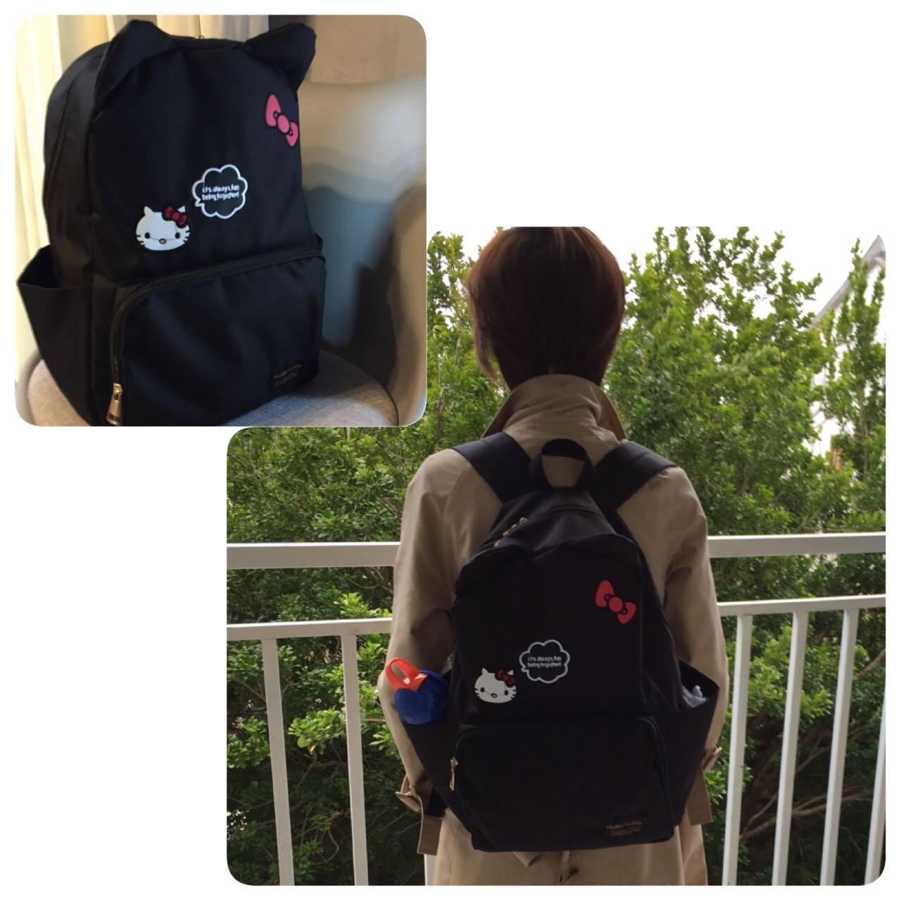 可�劭ㄍ�hellokitty大容量旅行背包休�e行李袋�W生�p肩��包