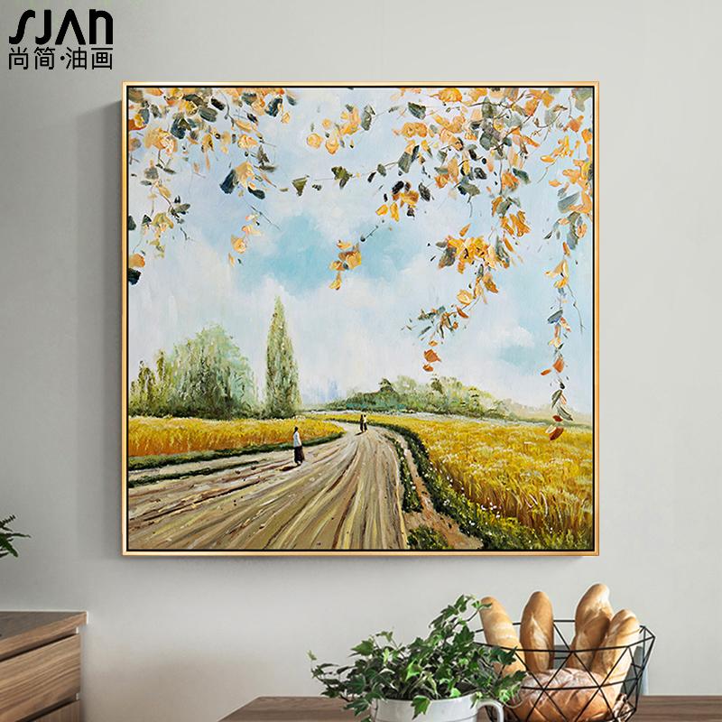 手绘油画美式风景挂画现代简约餐厅壁画客厅装饰画卧室玄关 麦田图片