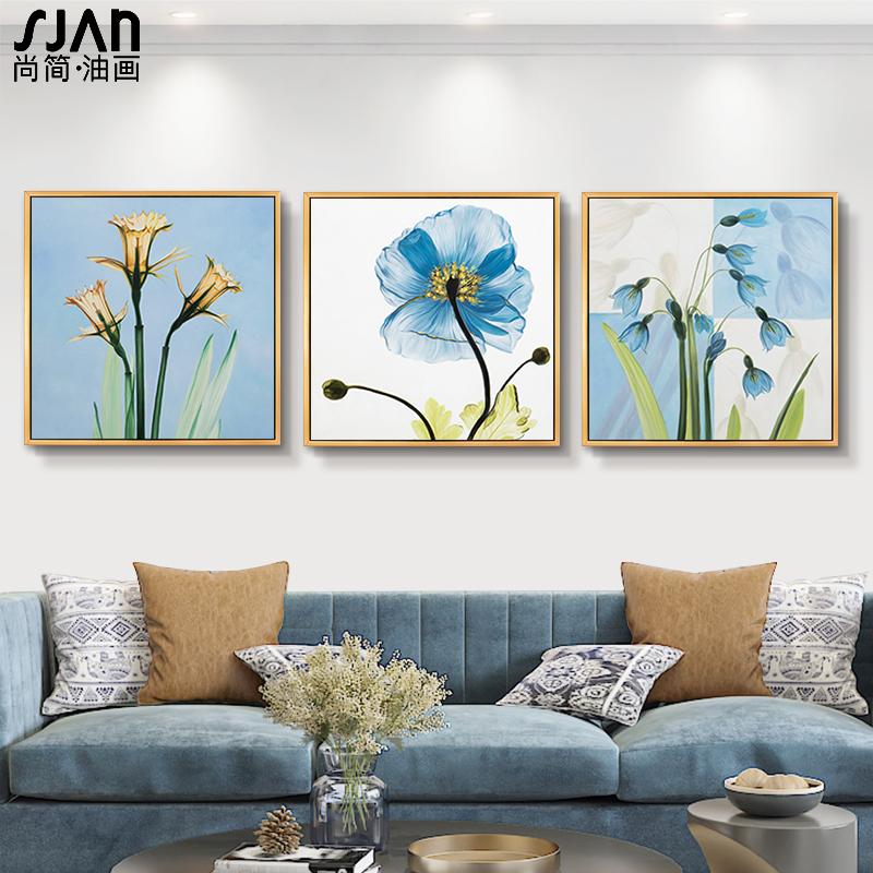 餐廳小清新綻放現代簡約手工客廳裝飾畫玄關掛畫沙發背景墻油畫