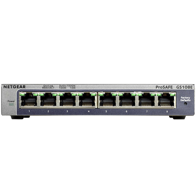 Netgear US Netgear gs108e simple network management 8-port full Gigabit switch iron case 1000m port network brancher VLAN switch