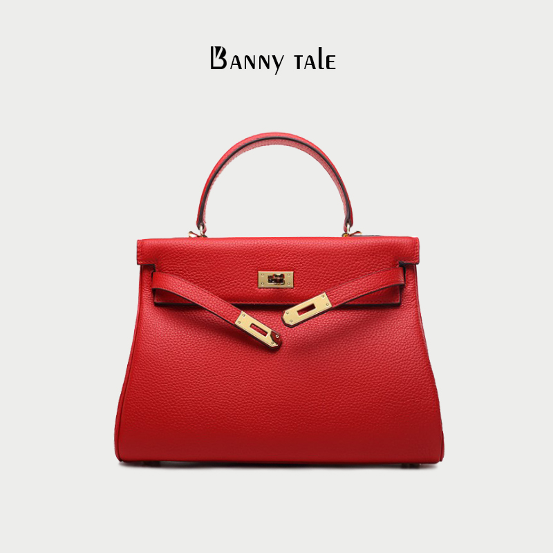 Kelly bag Kelly leather womens bag 2019 autumn winter new one shoulder cross arm carrying Wedding Bridal bag red