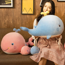 Net red whale doll doll, plush toy, cute dolphin trumpet accompany you to sleep pillow, doll, super girl.