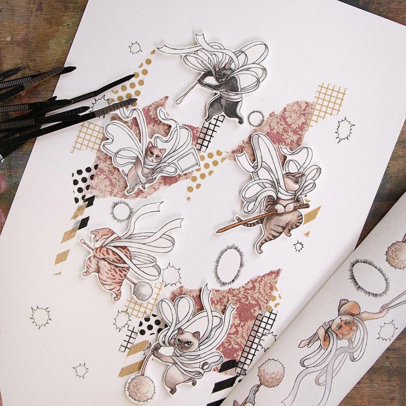 【一日一志】台湾乐意Loidesign 手帐胶带中二猫神乐整卷带离型纸