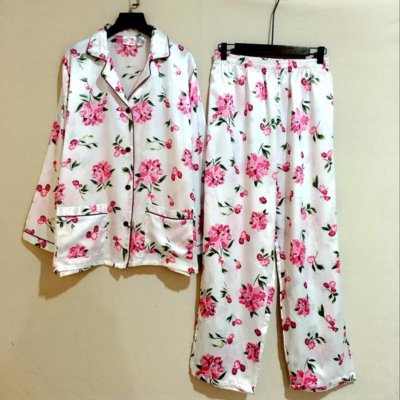 Иностранные благородных осень/зима комфортно женщин пижамы брюки, одежда костюм шелковых роз с длинным рукавом