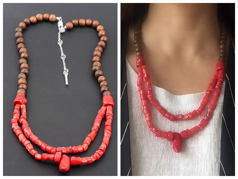 Simple Cole personality fashion temperament wood bead coral stone short necklace Necklace accessories female jewelry special price