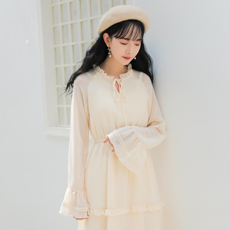 【7932#不低于89】收腰温柔风超仙文艺复古初恋裙chic长裙