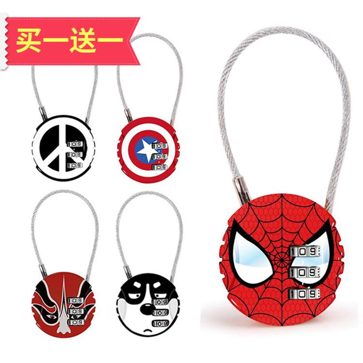 Lock head extra small mini luggage code padlock wire rope non retractable cute cartoon Gym Travel