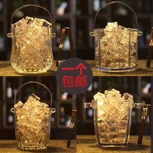 送冰夹玻璃保温红酒啤酒冰桶家用KTV酒吧大小号欧式 冰块桶香槟桶