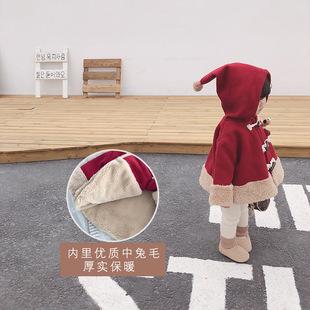 新款 宝宝小红帽呢外套儿童洋气加厚保暖大衣 女童外穿斗篷2019冬装