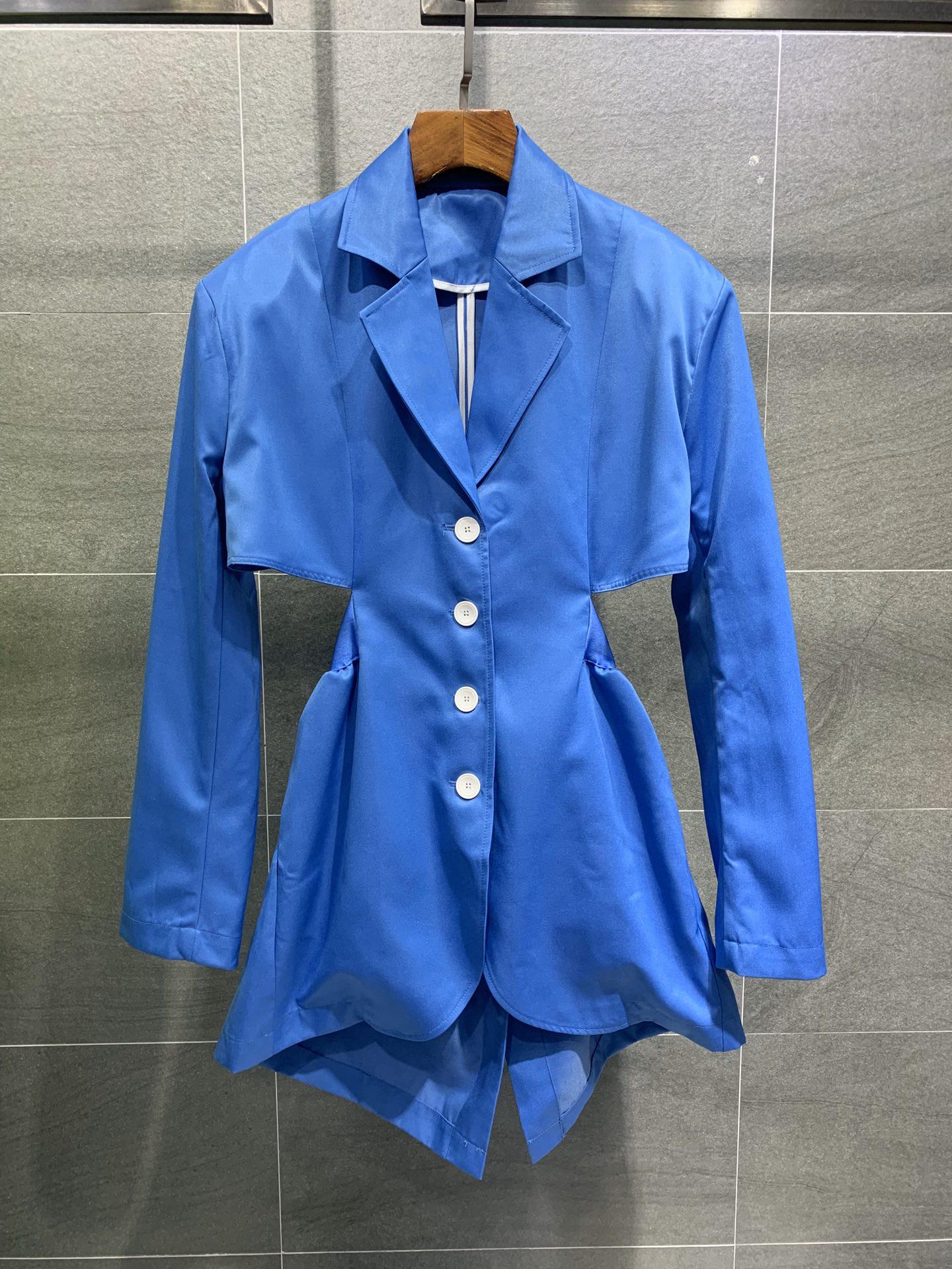 春夏季新款个性超A显瘦收腰镂空露腰垫肩帅气性感西服廓形薄外套