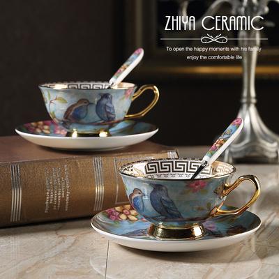 梦幻之蓝 田园风下午红茶杯欧式骨瓷咖啡杯创意复古金边杯碟
