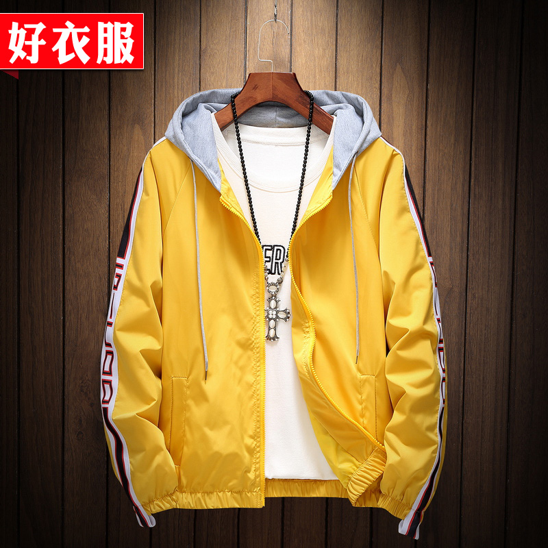 Jacket mens hooded sports cardigan sweater jacket Korean version ins super hot youth student Top Mens wear