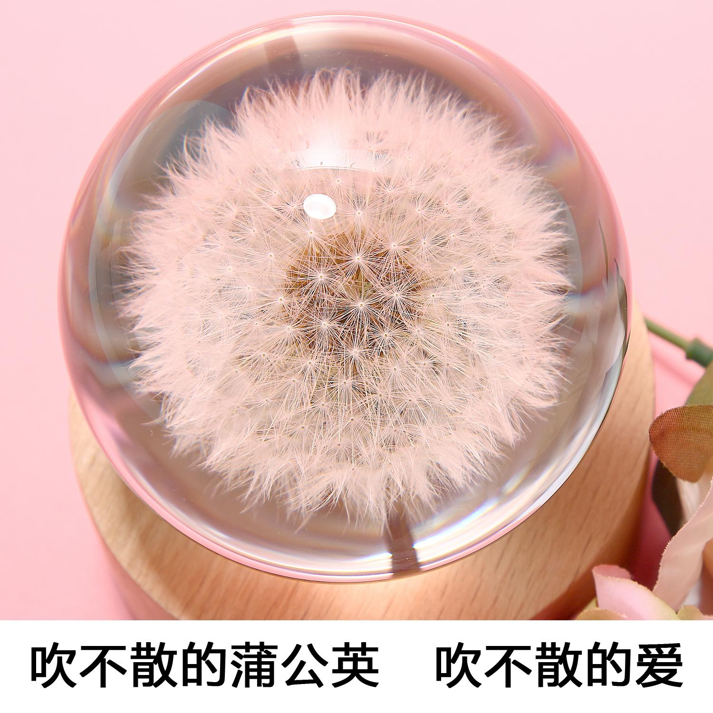 蒲公英标本音乐盒水晶球天空之城八音盒创意生日情人节礼物闺蜜女