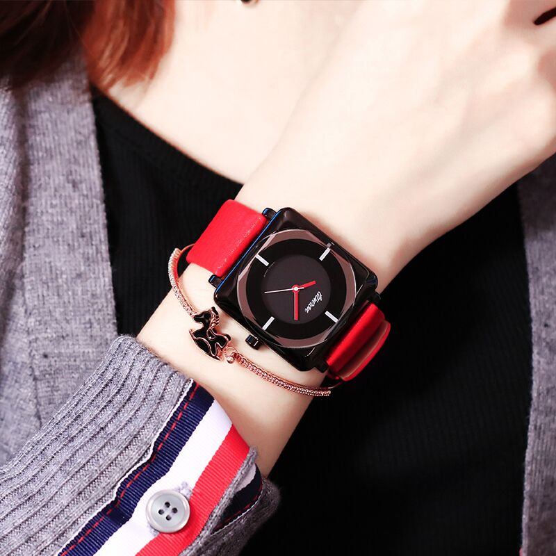Casual watch womens Korean version simple temperament square style atmospheric belt net red fashion trend womens waterproof watch