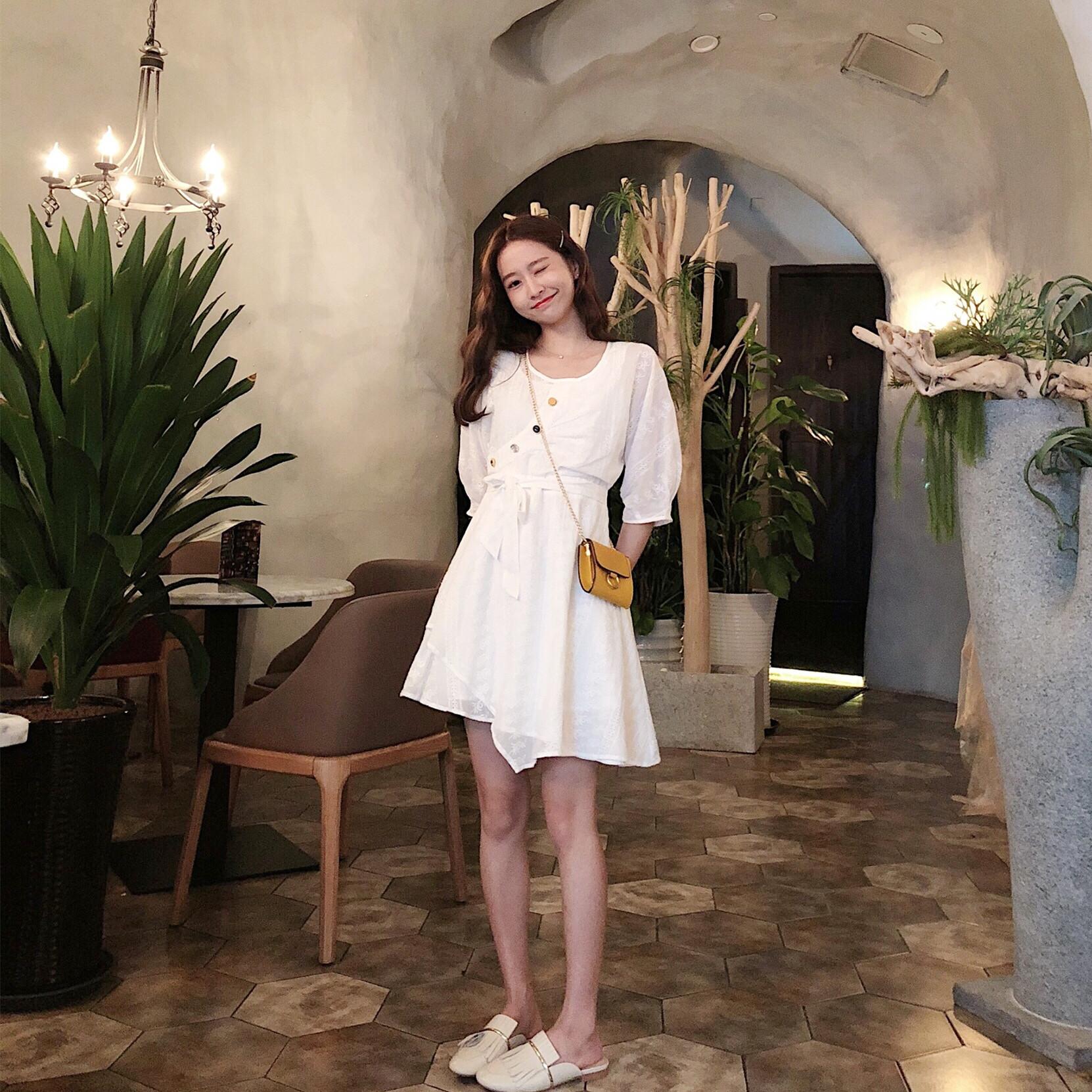肉完ROUWANBABY180705法式小公举白色气质温柔连衣裙女夏2018新款