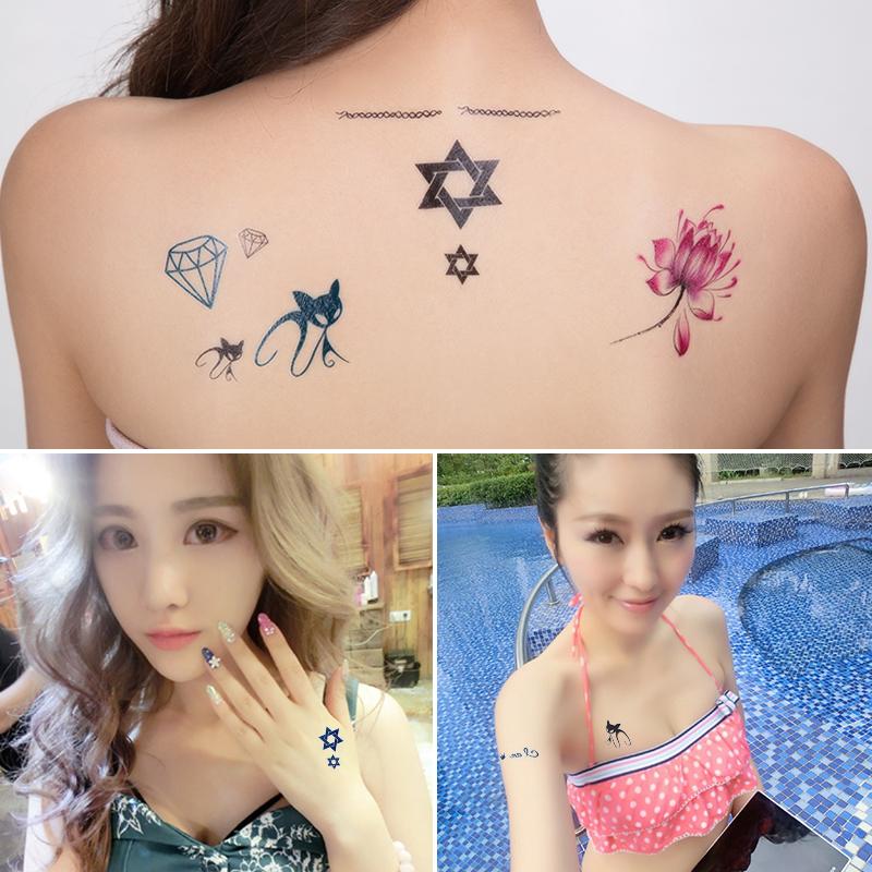 一份有15张 花臂纹身贴纸男女防水持久隐形遮痕刺青仿真