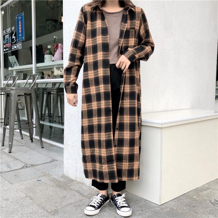 长款格子衬衫女复古休闲开衫外套原宿bf过膝长袖衬衣连衣裙学生