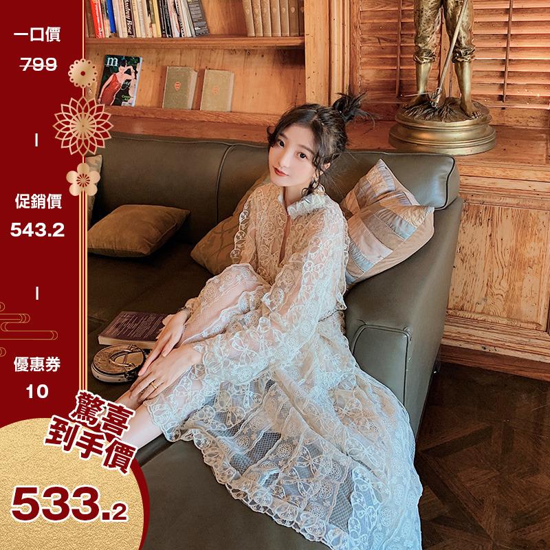 大喜自制仙女风重工蕾丝连衣裙仙女长裙2018秋冬新款复古气质裙子