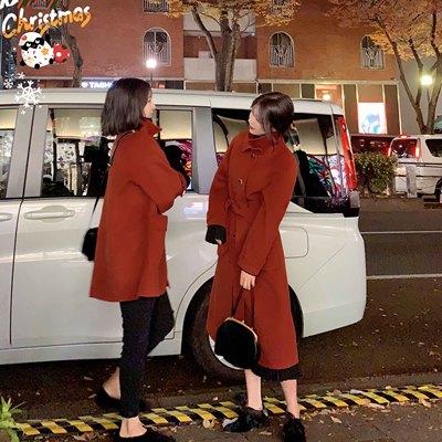 大喜自制 2019冬装新款翻领细带双面尼外套女中长款大衣