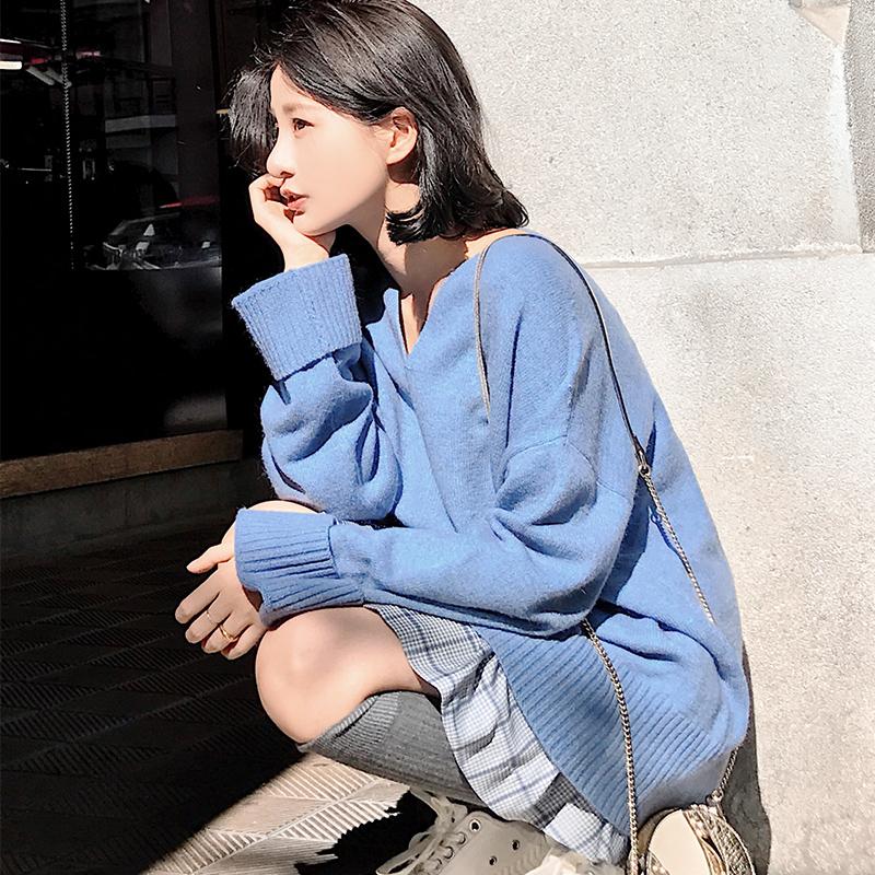 大喜自制秋装女2018新款秋季宽松长袖针织衫早秋慵懒网红毛衣外套