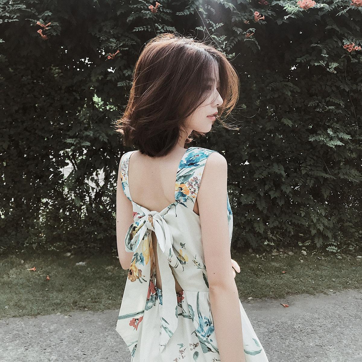 大喜自制连衣裙女夏2018新款印花方领小心机中长裙小清新sukol裙