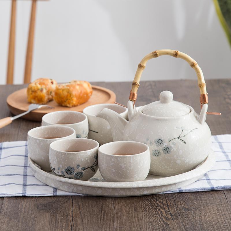 雪花釉下彩日韩式陶瓷茶具套装 家用 简约提梁壶一壶6杯带茶盘