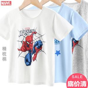 迪士尼男童T恤短袖纯棉夏季薄款蜘蛛侠小孩打底儿童男孩漫威汗衫