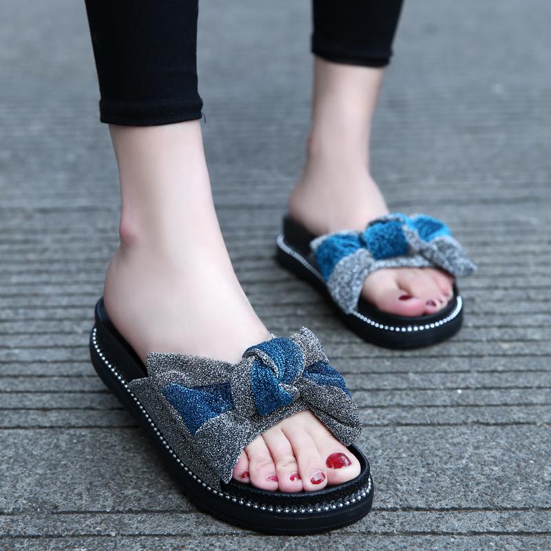 拖鞋女夏时尚蝴蝶结一字拖沙滩鞋新款外穿凉拖鞋百搭女中跟松糕底